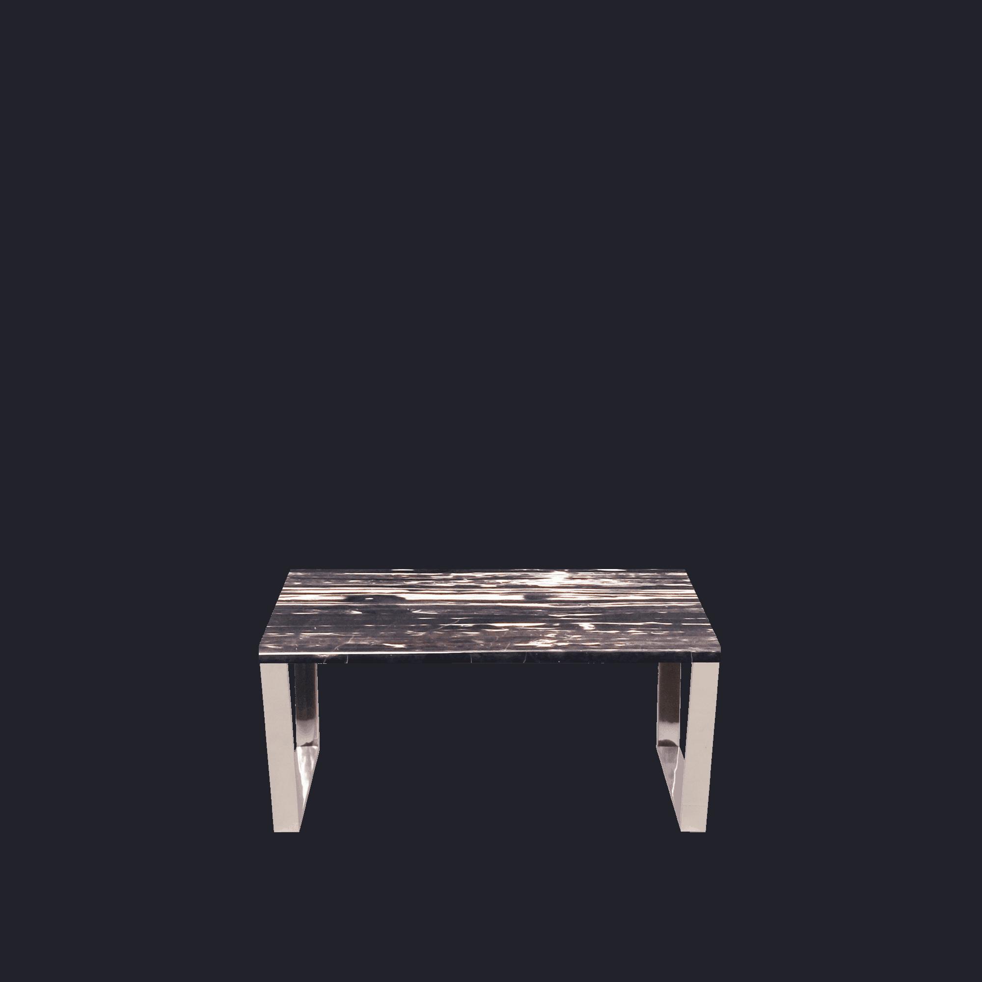 Rectangular Marble Coffee Table Silver Perlatino