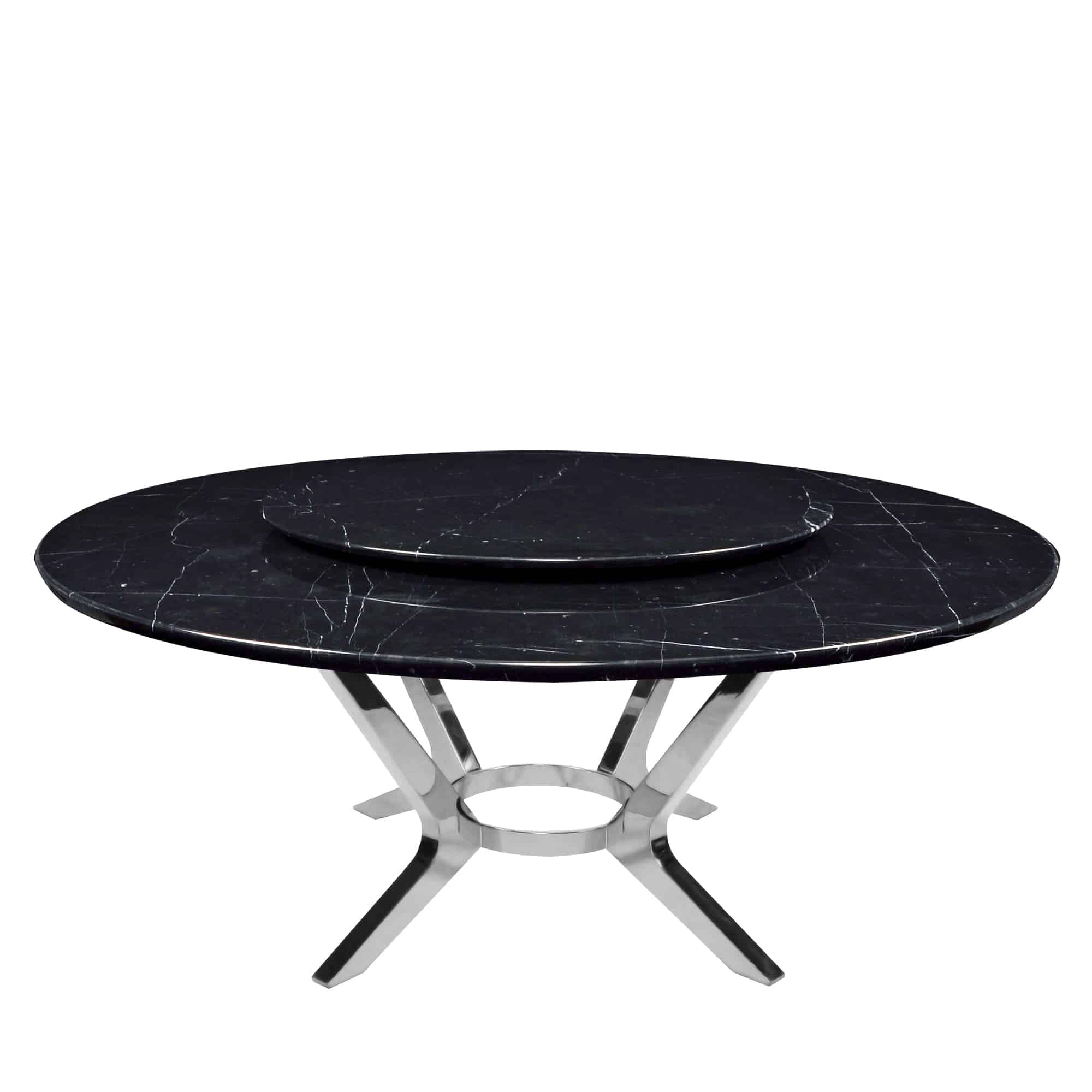Decasa Round Marble Dining Table Black Marquina