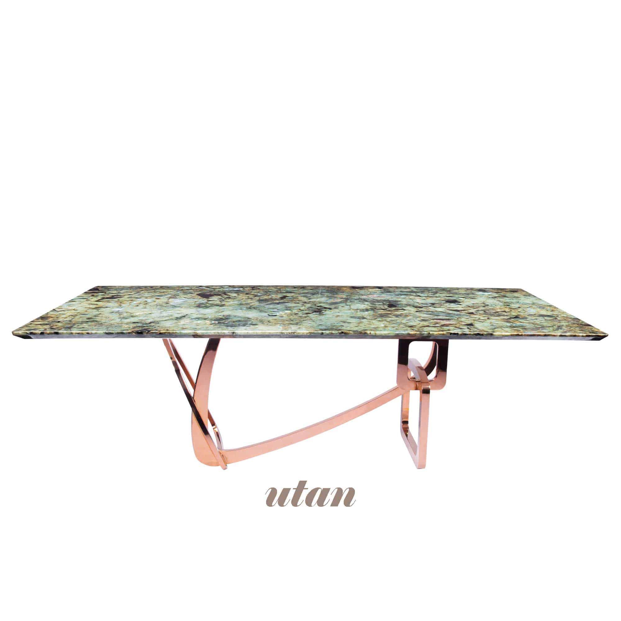 Decasa Rectangular Granite Dining Table Blue Jade